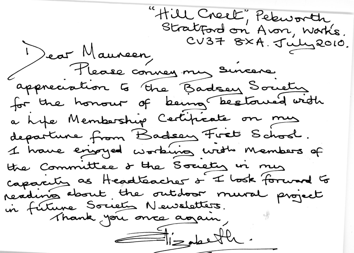 Thank you letter from elizabeth spencer re life membership of the thank you letter from elizabeth spencer re life membership of the badsey society the badsey archive library and museum collection expocarfo