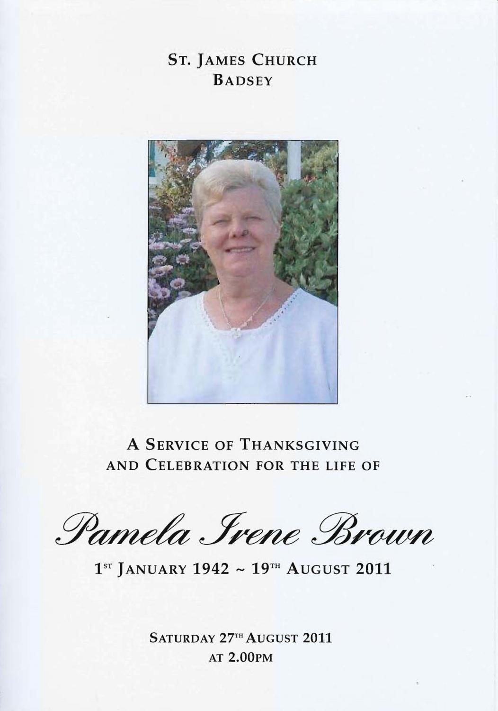 Brown Pamela Irene Order Of Service For A Thanksgiving