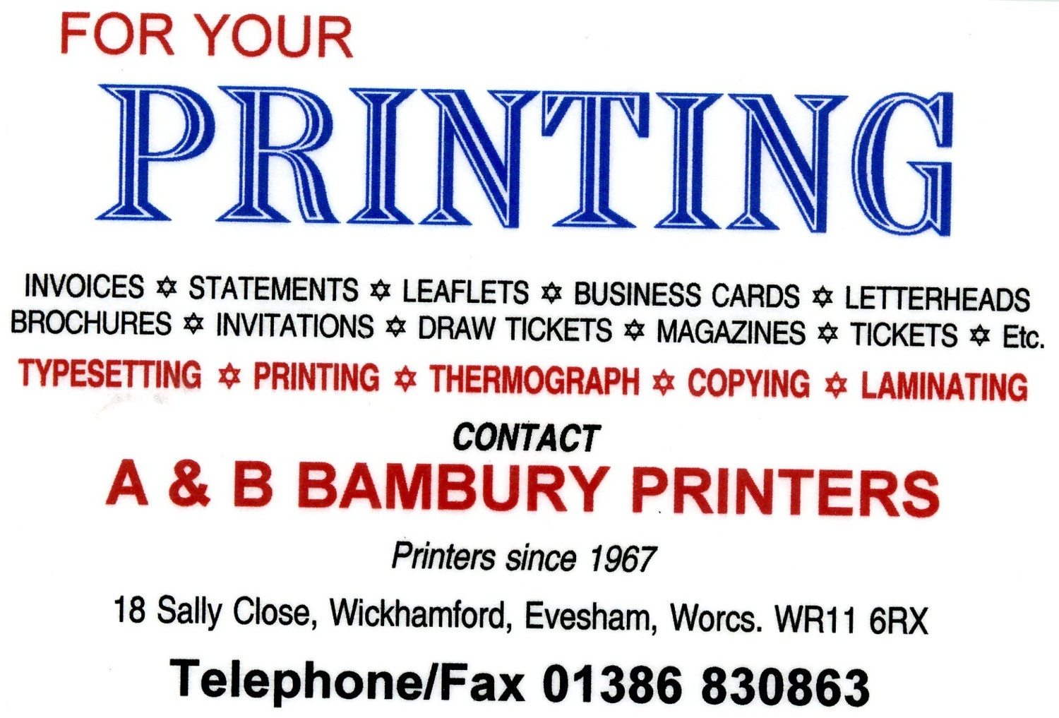 A & B Bambury Printers - business card   The Badsey Archive ...