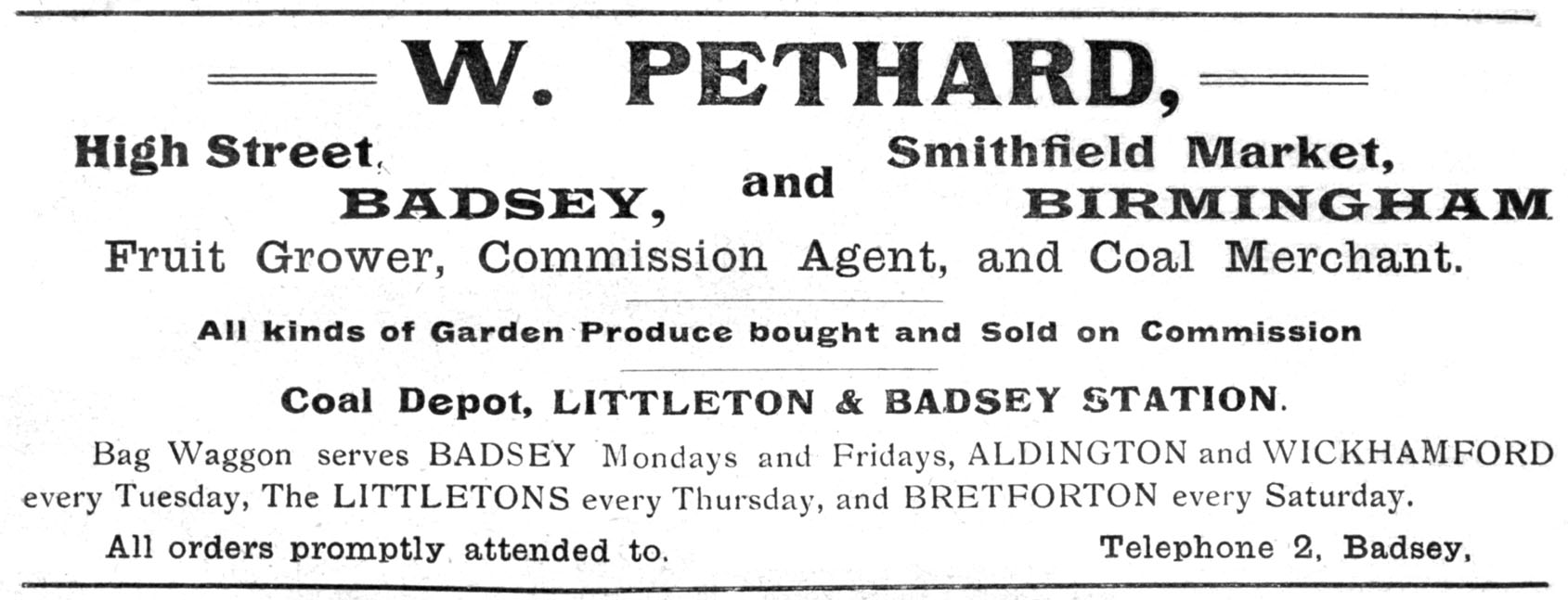 William Pethard's advert in the parish magazine