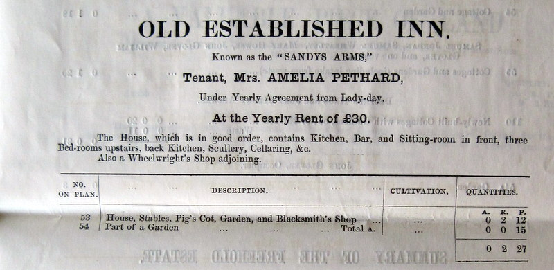 (12) Sandys Arms details, including mention of an adjoining Wheelwright's Shop