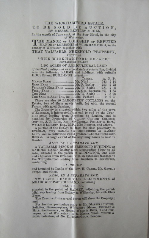 (2) Leaflet announcing the forthcoming sale of the Wickhamford Estate (mentioning 20 Labourers' Cottages)