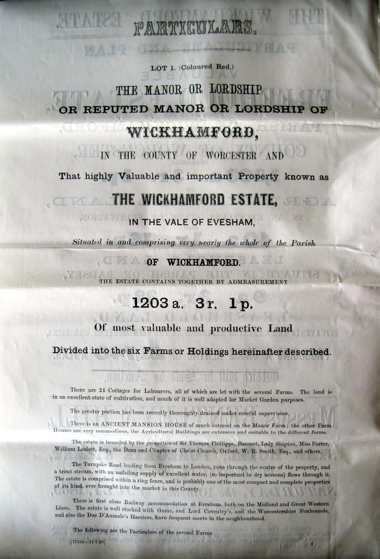 (3) Particulars of the forthcoming sale of the Manor of Wickhamford  (now mentioning 24 Labourers' Cottages)