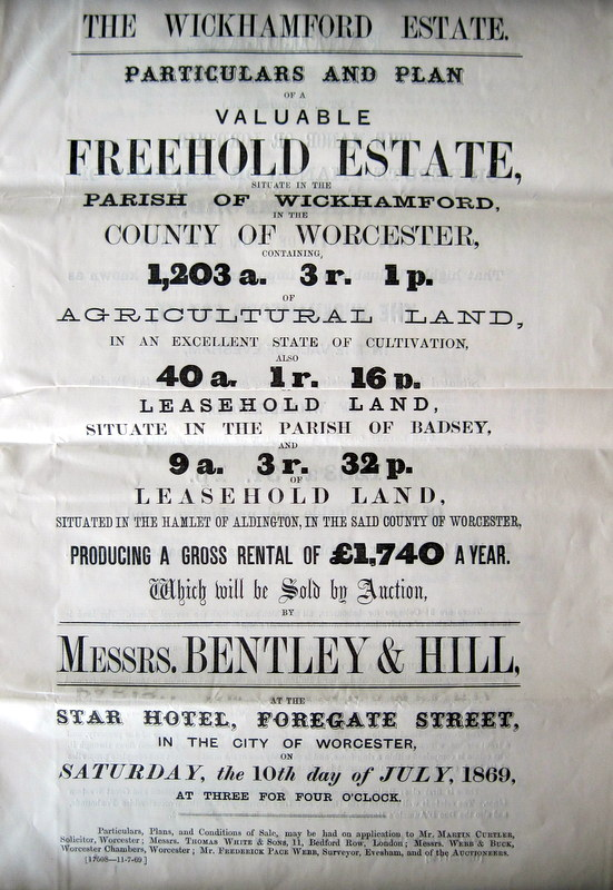 (5) Front page of the Sales document for the sale on 10th July 1869 at the Star Hotel, Worcester
