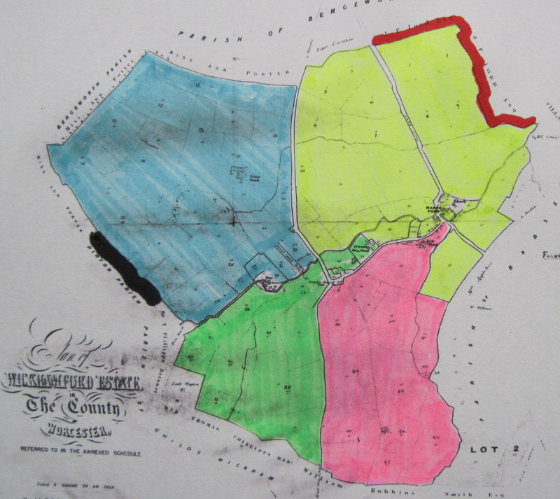 (6) The areas of the four farms:– Field Farm (blue), Pitcher's Hill Farm (green), The Elms Farm (red) and Manor Farm (yellow).