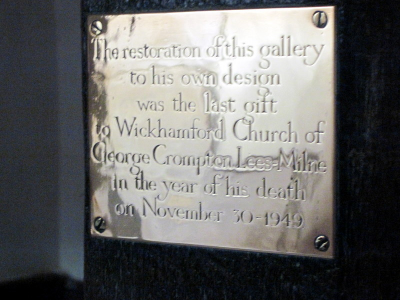 12. Plaque commemorating the restoration of the gallery by George Lees-Milne in 1949.