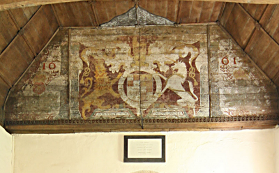 13. Royal arms dated 1661 but with monogram of James II ('I R' in the top centre).  The plaque beneath commemorates a restoration of the church in 1841 by Arthur, Lord Sandys of Ombersley Court.