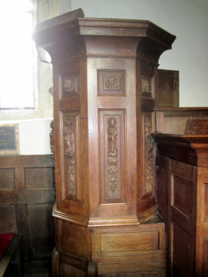 16. The carvings on the pulpit came from a London church in 1841.