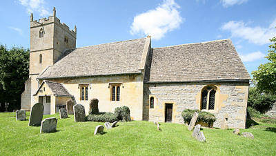 2. Wickhamford church with west tower (17th C), south porch (18th C), nave (14th C + 17th C reconstruction) and chancel of coursed Lias sandstone (13th C) with a sealed door.