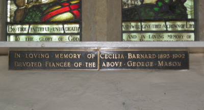 21. Plaque in memory of Cecilia Barnard, who never married after the loss of her fiancé, George Mason, in 1917.