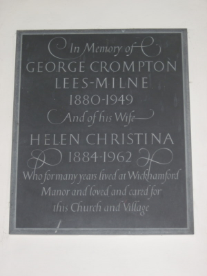 23. Wall tablet in memory of George and Helen Lees-Milne above the family box pew, across the aisle from the pulpit.