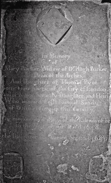 26. Memorial tablet on the floor of the Chancel to Mary Sandys nee Barker.