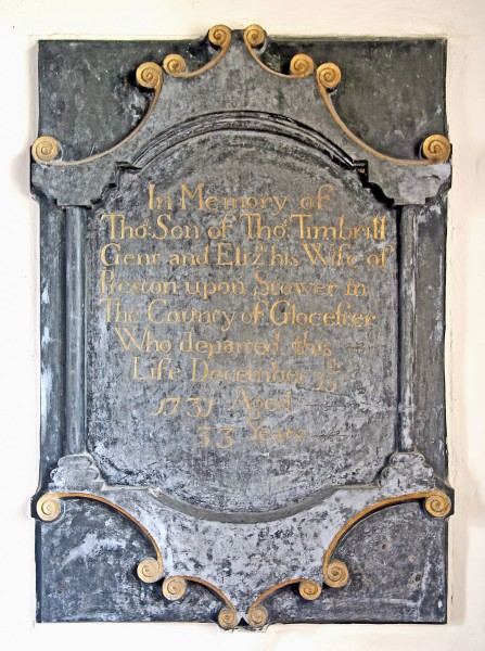 27. Memorial to Thomas Timbrill, on the wall of the box pew with the Lees-Milne plaques.