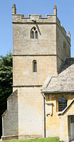 3. West tower in late Perpendicular style, completed in 1686, with battlements and short pinnacles.