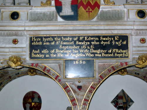 35. Sir Edwyn Sandys died on 23rd Sept. 1626 - only 21 days after his father - and Penelope buried on 21st Sept. 1680.  Again, incorrect dates, as Edwyn was buried on 9th September 1623 and Penelope on 13th September 1680.