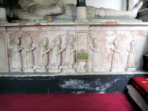 37. Carvings showing that Edwyn and Penelope Sandys had 5 sons and 3 daughters.