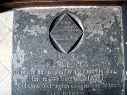 38. Floor slab monument to Penelope Washington in the Chancel.