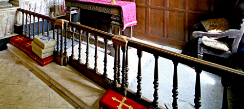 39. 17th or 18th century communion rails.  Archbishop Laud ordered that Altars be placed against the east wall of churches and railed in for greater reverence (and to prevent dogs fouling the Altar).