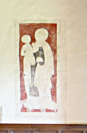42. A very faded painting of Virgin and child on east wall of chancel believed to be 13th century.