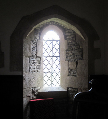 45. Early English style clear glass window in the south wall of the chancel.