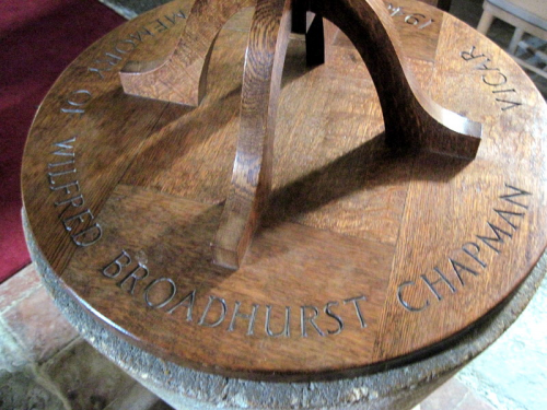 48. Font cover to commemorate the time (1948-1957) that Wilfred Broadhurst Chapman was vicar.