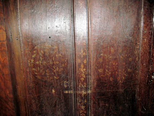 52. Detail of the painted panels on the cupboard in the vestry – I.
