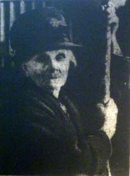 Mrs Emily Hartwell, with bell rope, pictured in the Evesham Journal of 25th March 1933