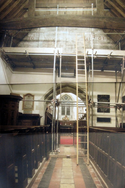 A composite picture of the scaffolding erected for the conservators to work on.