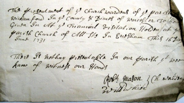 Churchwarden's Presentation, 16th June 1731