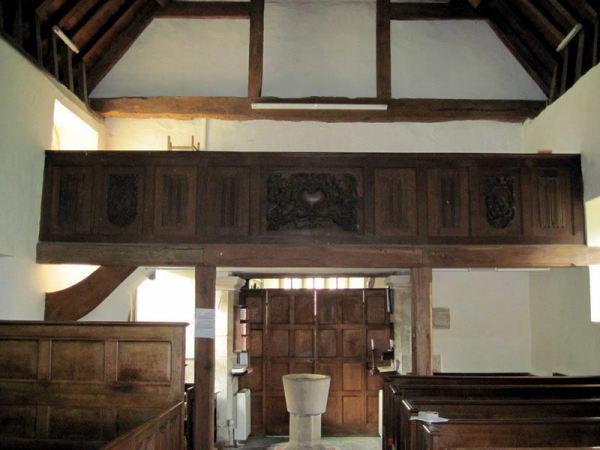 Choir gallery in Wickhamford church