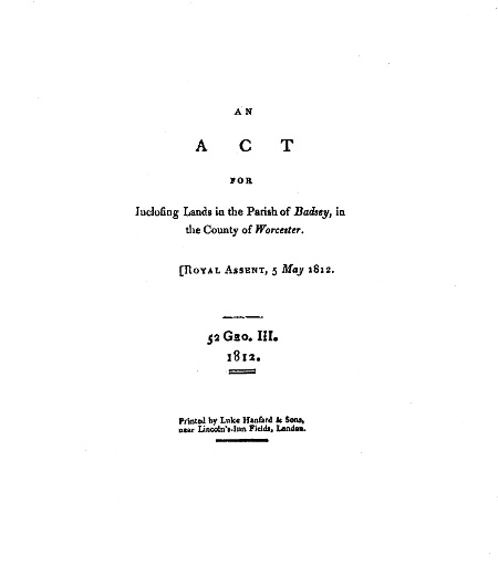 Front cover of the printed Act of Parliament