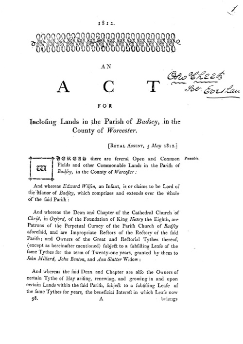 First page of the printed Act of Parliament