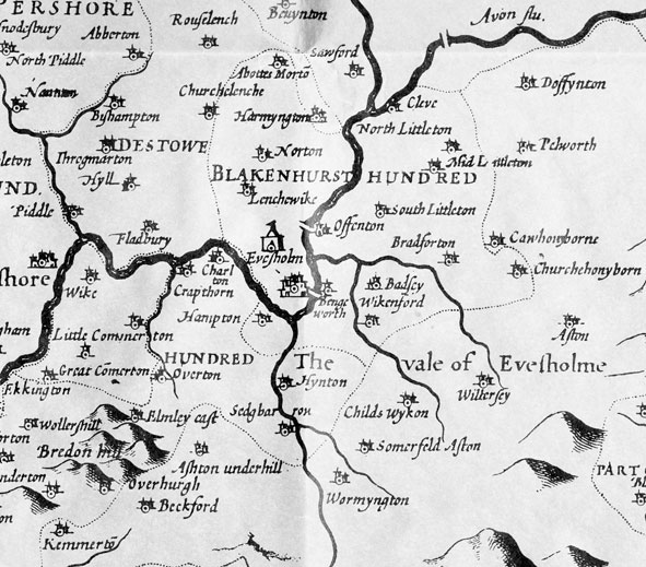 John Speede's 1610 map of Worcestershire