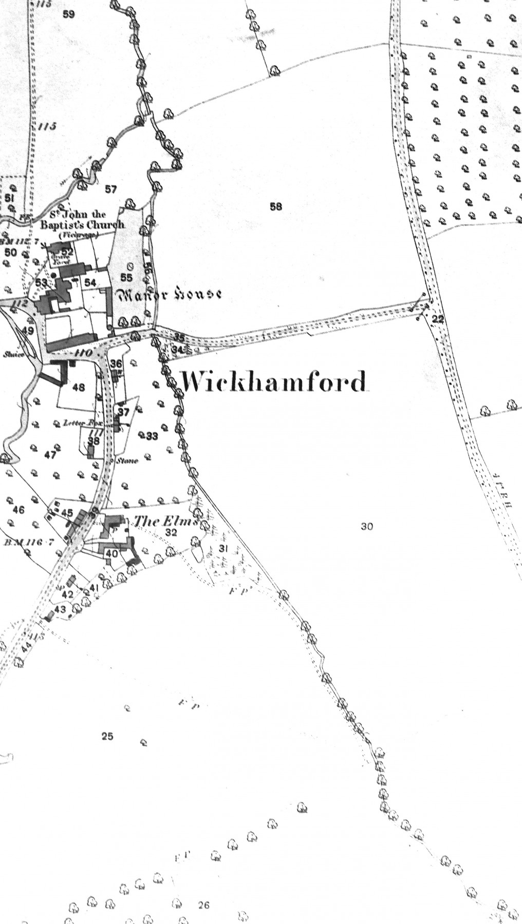 A detail showing the area around Wickhamford Manor