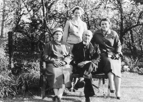 This 1957 picture shows the Martin family who lived at 30 Pitchers Hill. From left to right, they are Emma Martin, Marjorie Martin, Fred Martin and Joan Martin.
