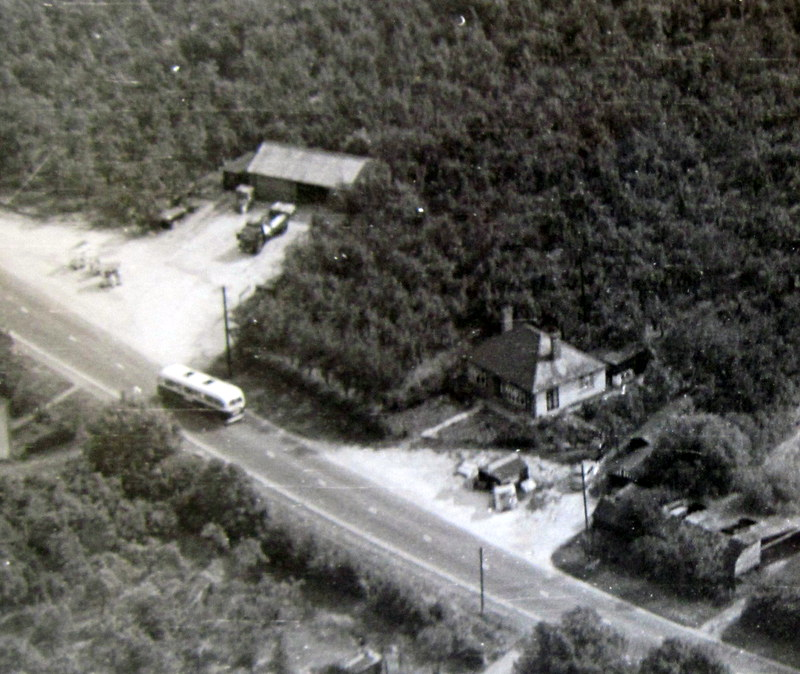 An aerial photograph from the 1950s showing a large shed where Peter and John Sutton ran a transport business taking fruit and vegetables to the mining valleys of South Wales.