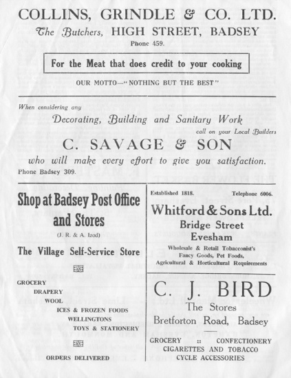 Advert - Collins, Grindle & Co. Ltd.