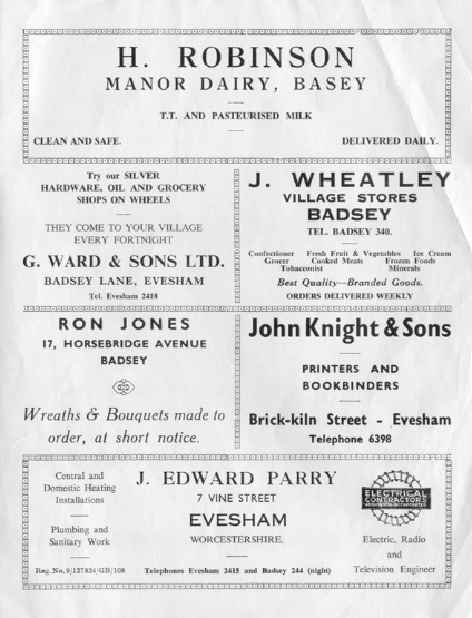 Advert - H. Robinson, Manor Dairy
