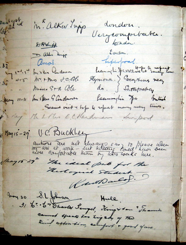 A page from the Sandys Arms visitors book from 1935, including an entry by the author V. C. Buckley, in May