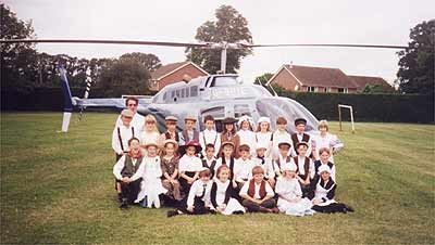 Helicopter in school field, Victorian Day, June 1995