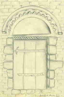 The plan of the doorway at Badsey is signed by B B Bayliss
