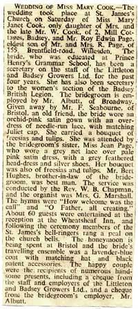 Marriage of Miss Mary Cook to Mr Edwin Page - newspaper cutting