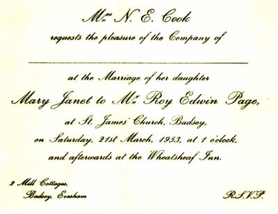 Wedding invitation - Mary Janet Cook to Mr Edwin Page, 1953