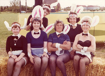 Bunny girls, left to right, back row, June Caswell, Sheila Taylor, front row, Ros Grinnel, Daphne Cleaver, Mary Dore, Bet Benfield.