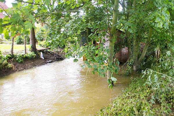 The aftermath (1 of 5). A shed from a Seward Road garden went floating down the Brook like Noah's Ark; here it is on Sunday morning. Photo: Tony Spinks.