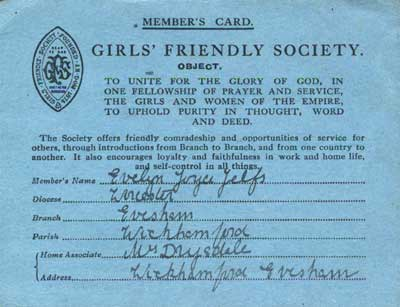 Evelyn Masters' Girls' Friendly Society member's card