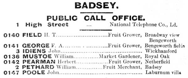 The Badsey telephone directory for 1903, and below, fruit merchant William Pethard with the phone number Badsey 2.