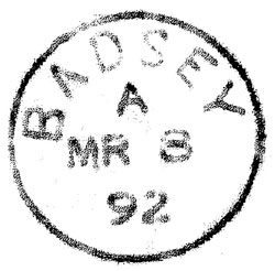 The first Badsey postmark. The stamp shows the date 8 March 1892. It was sent to Badsey the next day.