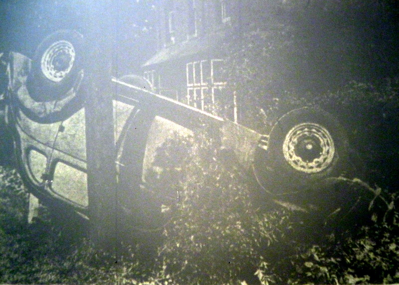 The car on its roof after the accident at the Sandys Arms on 19th September 1938