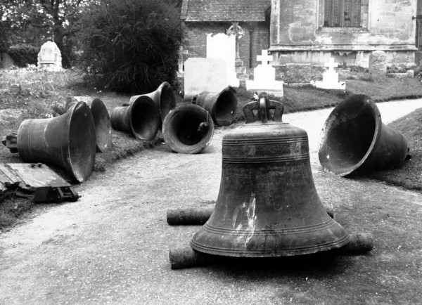 Badsey bells, including two later additions, awaiting their re-hanging by Taylors of Loughborough in 1951 after belfry repairs.